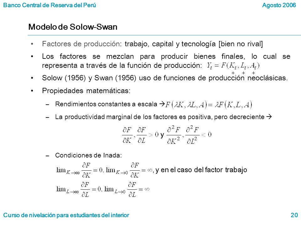 Modelo de Solow-Swan Factores de producción: trabajo, capital y tecnología [bien no rival]